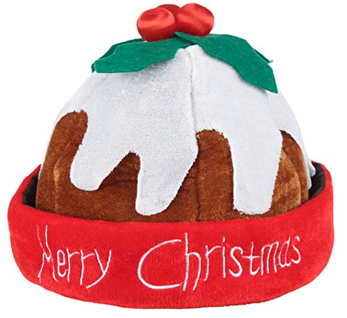 Deluxe Novelty Christmas Pudding Hat - Beanie Hat with Holly Berries - Warm Fleece Hat with Rolled Brim - Fancy Dress/ Xmas Party Hats for Adults and Teens