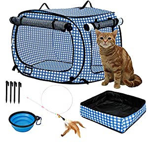 confote Indoor Outdoor Crate Pets, Collapsible Portable Cat Cage Kennel Large Blue 24″x16″x15″ Portable Kennel Carrier and Feeding Kit Collection