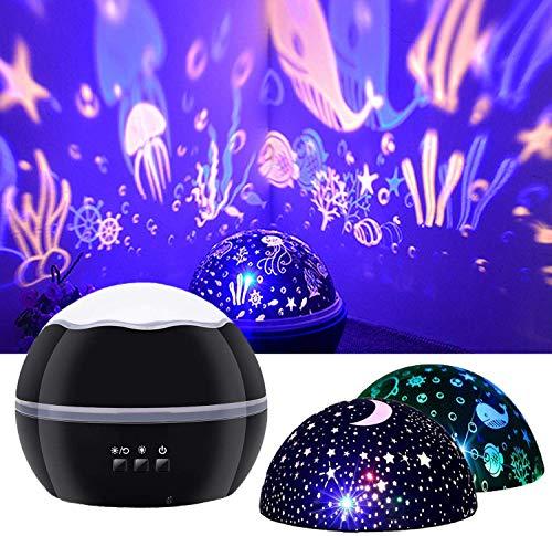 JOYYI Proyector de Luz Nocturna Estrella Cielo Oceano Pez Delfín Proy