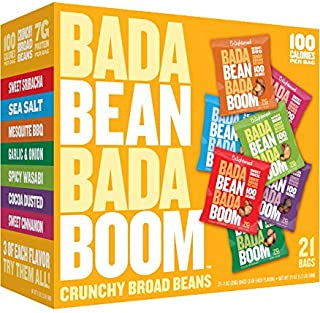Enlightened Bada Bean Bada Boom Plant-based Protein, Gluten Free, Vegan, Non-GMO, Soy Free, Kosher, Roasted Broad Fava Bean Snacks Samples, The Snacker Box, 1 Ounce (21 Count)