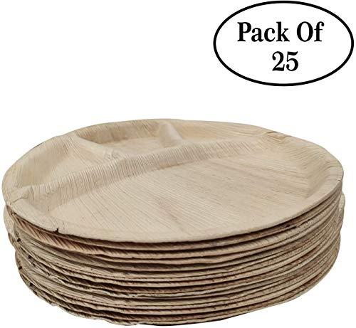 Pak van 25 Plam blad ronde plaat met 5 compartiment voedsel verdeeld wegwerp natuurlijke wegwerp biologisch afbreekbare Palm blad platen voor partij bruiloft evenement platen (12 inch)