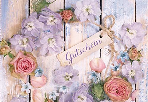 Gutschein, Gutscheinkarte mit Umschlag, Geschenkgutschein, im Format DIN B6 176 x 125 mm, Klappkarte inkl. Umschlag, Motiv: Blüten