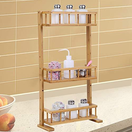 Estante de almacenamiento de cocina, 3 niveles, organizador de botellas de bambú natural, soporte para botellas de especias