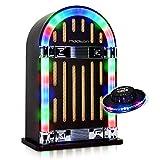 Jukebox al look vintage anni '40dotata della tecnologia la più moderna che offre una riproduzione acustica di buona qualità + Mini gioco di luce OVNI inclusi Spedizione rapida e curato Venditore PRO DJ Light Garanzia 1anno