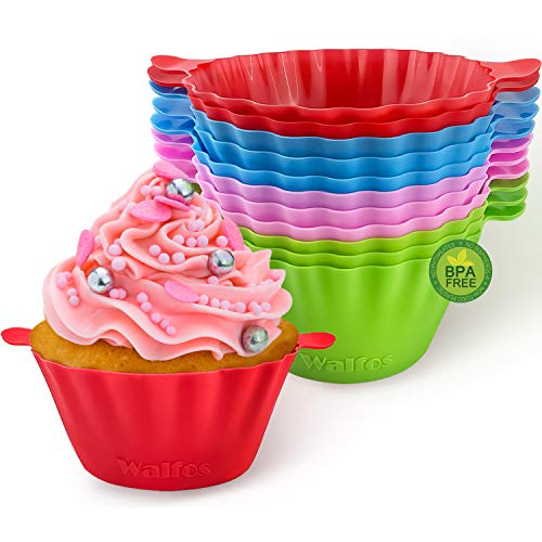 Silicone Baking Cups, Walfos Jumbo Cupcake Liners Large 3.5 inch Resusable Muffin Cups Non-stick Muffin Liners Cupcake Baking Cup, Food Grade and BPA Free, 12Packs