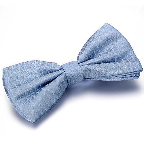 JewelryWe Herren Fliege Schleife Gestreift Gebunden Anzug Hemd Krawatte Schlips Binder Bow Tie Verstellbar für Smoking Business, Hellblau