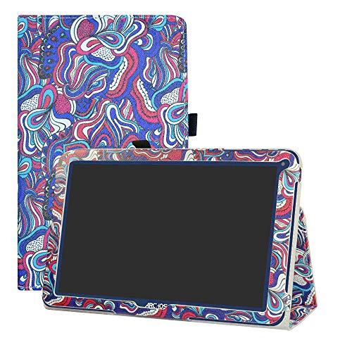 LFDZ ARCHOS 101E Neon Hülle, Schutzhülle mit Hochwertiges PU Leder Tasche Case für 10.1