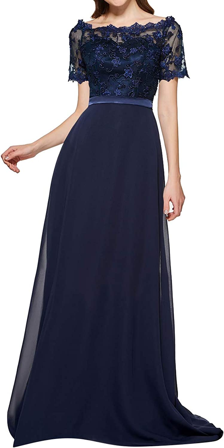 Uther Long Bridesmaid Dresses Short Lace Sleeve Evening Wedding Party Gowns