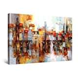Startonight Cuadro Moderno en Lienzo Ciudad de Niebla Edificios Coloreados, Pintura Abstracta para Salon Decoración Grande 80 x 120 cm
