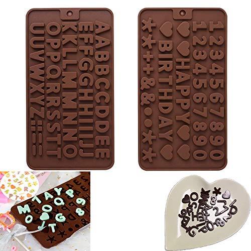 Stampi in Silicone Lettere Numeri, Stampo in Silicone Lettera Inglese, Simboli di Buon Compleanno Alfabeto Stampo per Cioccolato,, per torte e fondenti, 2 Pezzi