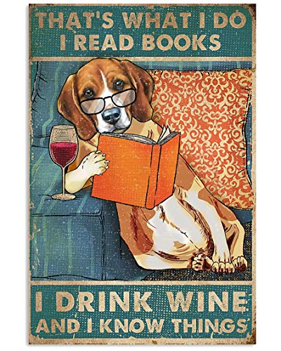 Funy Beagle Poster I Read Books I Drink Wine Know Things Wall Art Hanging Poster Painting Canvas Paper Photography Abstract Watercolor Living, Bedroom, Home Decor, No Frame (12'x18')