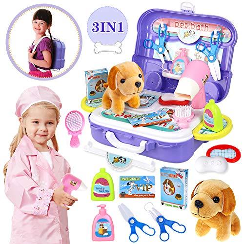 HERSITY Tierarztkoffer Kinder Tierarzt Spielset mit Hund im Rucksack Hundesalon Rollenspiel Spielzeug Geschenke für Kinder Mädchen 3 4 5 Jahre
