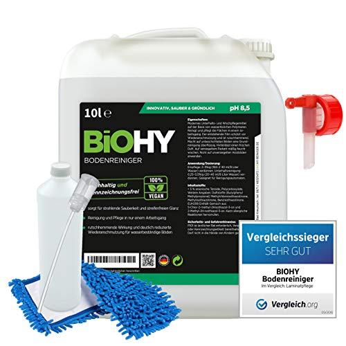BiOHY Bodenreiniger-Set 10 Liter Kanister + Zubehör | Bodenreiniger | Auslaufhahn | Dosierer | Mischbehälter | Wischmopp | Ökologisches Reinigungsmittel für nachhaltiges Reinigen