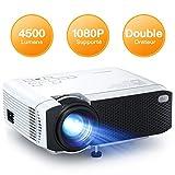 APEMAN Mini Projecteur 4500 Lumens, 1080P Supporté Portable Vidéoprojecteur Full HD, 45000 Heures Multimédia Cinéma Maison LED Rétroprojecteur, HDMI/VGA/AV/TF/USB Compatible avec TV Box/PS4/Smartphone