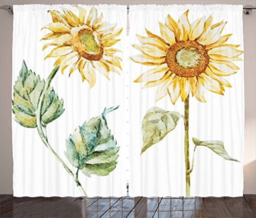 """Ambesonne Watercolor Curtains, Alluring Sunflowers Summer Inspired Design Agriculture, Living Room Bedroom Window Drapes 2 Panel Set, 108"""" X 84"""", Yellow Green"""