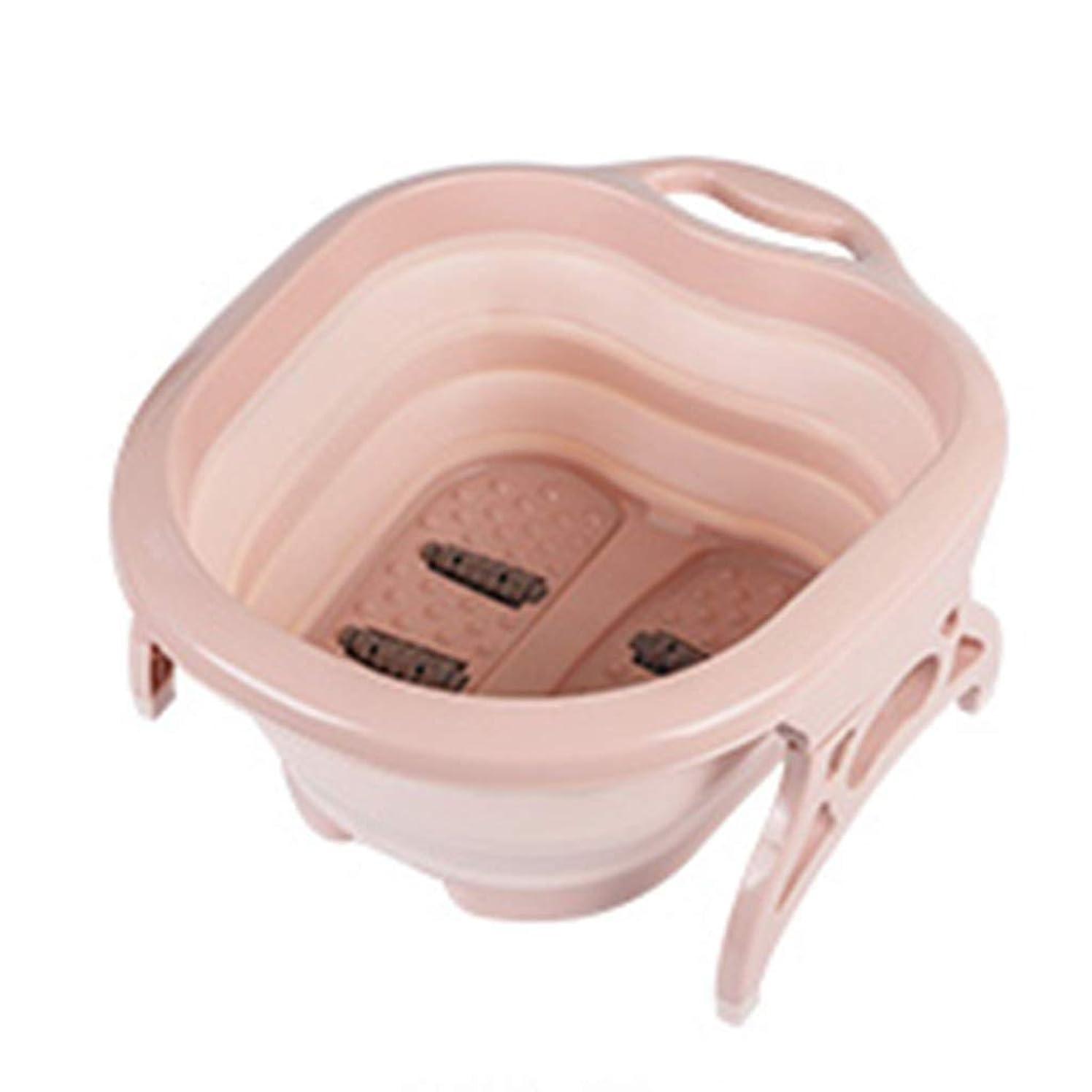 ペチコート入る一緒にLabr 折りたたみマッサージバケツ厚い丈夫なフットバス浴槽ペディキュアデトックス足洗面台家庭用健康ギフト XM1209-8-31-11 (Color : Pink)