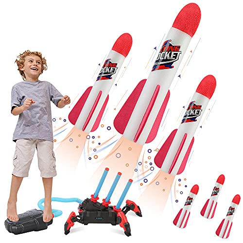 Toy Multiple Rocket Launcher for Kids, Shoots Up to 100 Feet, with 6 Foam Rockets, Launcher Stand, Foot Launch Pad, Outdoor Toys for Kids Ages 4-8 8-12, Gifts for Boys Girls 4 5 6 7 8+