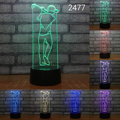 Lámpara de mesa 3D 7 colores tipo de lámpara de golf camisa de color lámpara de noche lámpara de mesa lámpara de mesa de cristal lámpara de mesa de cristal lámpara de mesa blanca l