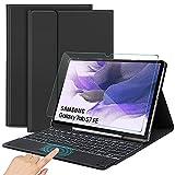 SROSS QWERTY English Funda con Teclado Compatible con Samsung Galaxy Tab S7 FE / S7 Plus / S7+, Bluetooth Teclado con Touchpad & Protector de Pantalla por Samsung Galaxy Tab S7 FE 12.4', Negro