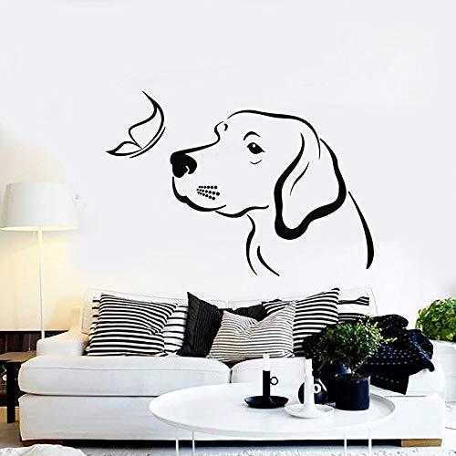 Pegatinas de pared para perros y mariposas, cuidado de animales, puertas y ventanas para cachorros, pegatinas de vinilo, tienda de mascotas, guardería, dormitorio infantil, decoración del hogar
