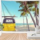 Brandless Beach Coconut Tree Tapiz Tabla de Surf Colorida Junto al mar Colgante de Pared Colgante de Pared Decoración para Dormitorio Sala de Estar (150x130cm)