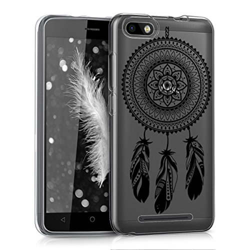 kwmobile Wiko Lenny 3 Hülle - Handyhülle für Wiko Lenny 3 - Handy Case in Mandala Traumfänger Design Schwarz Transparent