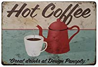 ホットコーヒーグレートドリンクデザインパネル層錫マーク壁レトロメタルバーバーポスターメタル12X8