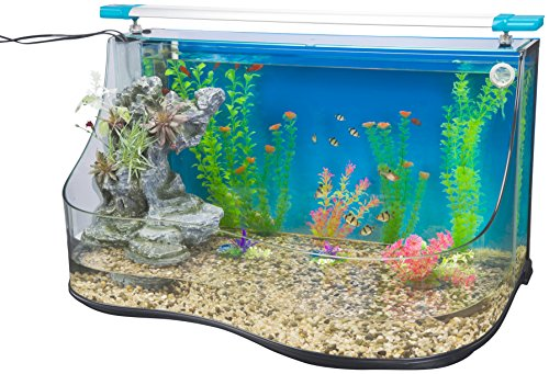of penn plax aquariums dec 2021 theres one clear winner Penn-Plax Aqua Terrium Aquarium Water Pool - Two Large Habitats with Cascading Waterfall and Filter Curved Glass Design 9.0 Gallon