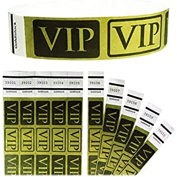 "Heavier Tyvek Wristbands 7.5 Mil - Goldistock VIP Deluxe Metallic Gold 200 Count - ¾"" Arm Bands - Paper-Like Party Armbands - Heavier Tyvek Wrist Bands = Upgrading Your Event"
