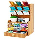 Wellerly Wooden Desk Organizer, Multi-Functional DIY Desktop Pencil Holder with 15 Compartments Stationary Box Storage Rack with Drawer - Easy Assembly - Home Office School Supply - Cherry Color