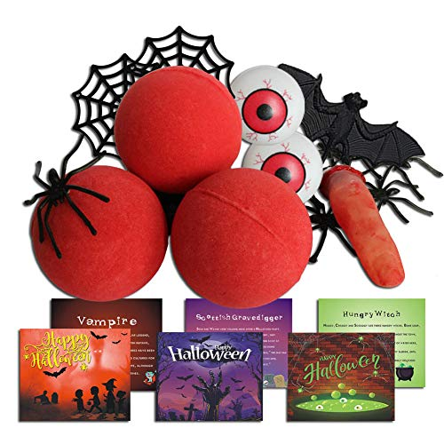 Red Bloody Bath Bomb Gift Idea, Bath Bomb Set with 3 Red Funny Bath Bombs, 8 Floating Spiders, 2 Floating Spider Webs, 1 Injured Floating Finger, 1 Bat, 2 Floating Eyeballs , 1 Storage Bag