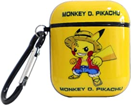 Monkey D Luffy Pikachu Airpod Green Case for Apple Airpods 1&2,Funny Cartoon Character Soft Silicone Catalyst Cover,Fun Cool Keychain Design Skin,Fashion Cases for Girls Kids Boys Air