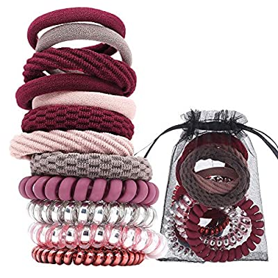 12PCS Mixed Spiral Hair Ties Ponytail Holder Hair Ties for Women (Assorted Colors) Hair Coils