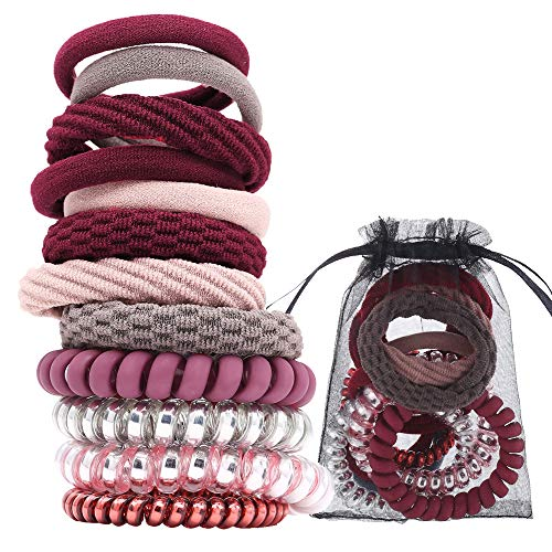 Spiral Hair Ties No Crease Coil Hair Coils Mixed Ponytail Holder Hair Ties for Women (Assorted Colors) (12PCS SET 1)