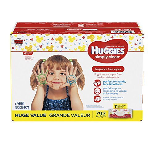 HUGGIES Simply Clean Fragrance Free Baby Wipes, 11 Soft Pack (792 Count Total),...