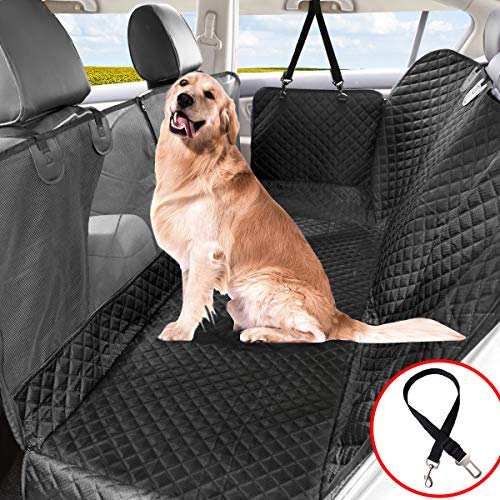 Vailge Hundedecke für Auto Rückbank, Hunde Autoschondecke Rückbank Wasserdicht Kratzfest rutschfeste mit Sicherheitsgurt Kofferraummatte, Hundedecke Auto Hundematte Auto Rückbank für Car Auto Van SUV