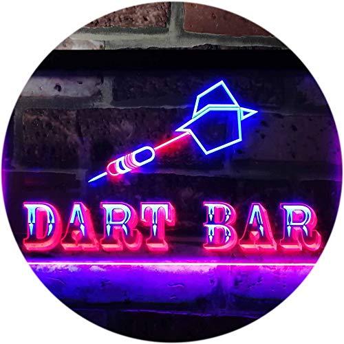ADV PRO Dart Bar Club VIP Beer Pub Dual Color LED Barlicht Neonlicht Lichtwerbung Neon Sign Blau & Rot 300 x 210mm st6s32-m0118-br