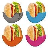 FunisFun 4 Pcs Retractable Burger Fixed Box TIK Tok New Trends Hamburger Buns Burger Holder Reusable Hamburger Box Silicone Rack Holder Burger Box Dishwasher Safe & BPA-Free, 4 Color
