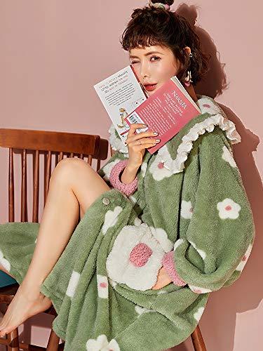 Bata de baño de franela para mujer, de invierno, gruesa, cálida, para dormir, para mujer, ropa de dormir suelta (color: verde militar, talla: XXL)