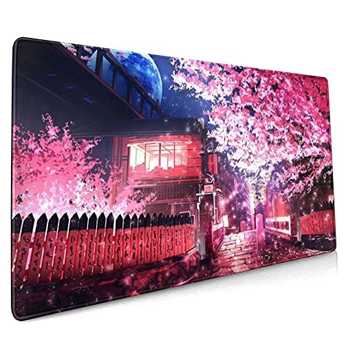 Japanese Sakura Anime Extended Mouse Pad 35.4x15.7 Inch XXL Pink Cherry Blossom Flower Non-Slip Rubber Base Large Mousepad Stitched Edges Waterproof Keyboard Mouse Mat Desk Pad for Office Home Game