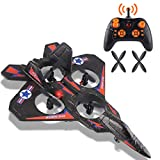 Remote Control Jet RC Airplane Fighter Jet Helicopter Quadcopter with 360°Flip, LED Light Indication, 2.4GHz 6Channel, Gift Toys for Kids and Beginner