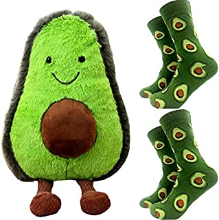 Avocado Food Plush 9 inch and Two Pairs of Avocado Socks Doll Soft Skin-Friendly Stuffed Animal Toy Shaped Fruit Pillow Gift (Avocado Pack)