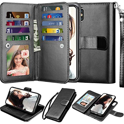 """Njjex Wallet Case for iPhone Xs Max, for iPhone Xs MAX Case, PU Leather [9 Card Slots] ID Credit Folio Flip [Detachable][Kickstand] Magnetic Phone Cover & Lanyard for iPhone Xs Max 6.5"""" 2018 [Black]"""