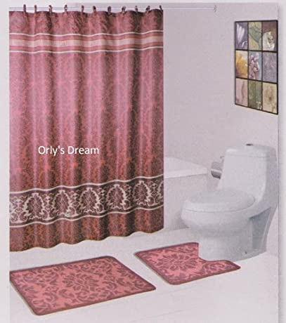 Deep pink luxury damask shower curtain