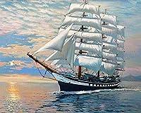 大人用クロスステッチキット海の上の白い帆船11CT16x20inchDIY刺繡刺繍キット初心者向けリビングルームと寝室の装飾用クロスステッチキット