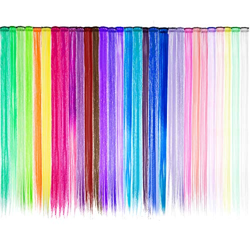 30 Piezas de Extensiones de Pelo con Clip Destacadas de Fiesta Coloridas, 21,6 Pulgadas de Largo, Extensiones de Cabello Sintético Resistente a Calor en Colores Múltiples (Estilo A)