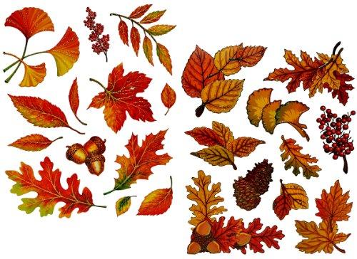 alles-meine.de GmbH 23 Stück: Fensterbilder Herbst - Blätter Pilze Kastanien und Herbstfrüchte - Sticker _ statisch haftend wiederverwendbar _ Fenstersticker Aufkleber selbstkleb..