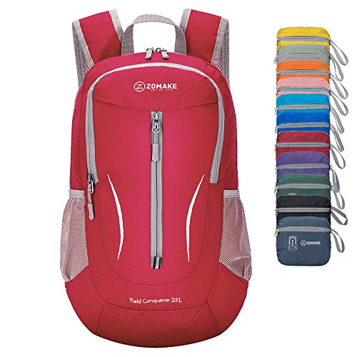 ZOMAKE Ultra Lightweight Packable Backpack, 25L Small Water Resistant Rucksack Foldable Travel Daysack for Men Women Outdoor Hiking (Red)