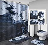 Graublauer Marmor-Duschvorhang 4-Teilig, Duschvorhang Wasserdicht + Badematte + U-Förmige Konturmatte + Toilettensitzbezug + 12 Haken