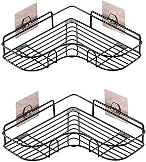 Tengfey 浴室ラック 浴室/キッチン用 強力粘着固定 (2個)三角コーナーラック 在庫処理 超安い ! (ブラック*2)